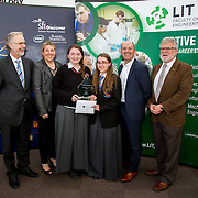 27.04.2016.          <br />  Kalin Foy and Ciara Coyle win SciFest@LIT<br /> Kalin Foy and Ciara Coyle from Colaiste Chiarain Croom to represent Limerick at Ireland's largest science competition.<br /> <br /> Overall winners Colaiste Chiarain Croom students, Kalin Foy and Ciara Coyles project ,To design and manufacture wireless trailer lights. Kalin Foy and Ciara Coyle are pictured with George Porter, SciFest and Brian Ahern, Intel<br /> <br /> Of the over 110 projects exhibited at SciFest@LIT 2016, the top prize on the day went to Kalin Foy and Ciara Coyle from Colaiste Chiarain Croom for their project, 'To design and manufacture wireless trailer lights'. The runner-up prize went to a team from John the Baptist Community School, Hospital with their project on 'Educating the Youth of Ireland about Farm Safety'. Picture: Fusionshooters