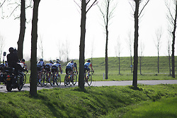 The front group rides in the third lap of Stage 1b of the Healthy Ageing Tour - a 77.6 km road race, starting and finishing in Grijpskerk on April 5, 2017, in Groeningen, Netherlands.