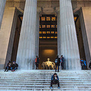 WASHINGTON, DC - FEB12: Visitors at the Lincoln Memorial, February 12, 2016, in Washington, DC. The memorial will be repaired and refurbished with the help of a gift from David Rubenstein, who is giving $18.5 million to the National Park Service, to refurbish the Lincoln Memorial. (Photo by Evelyn Hockstein/For The Washington Post)