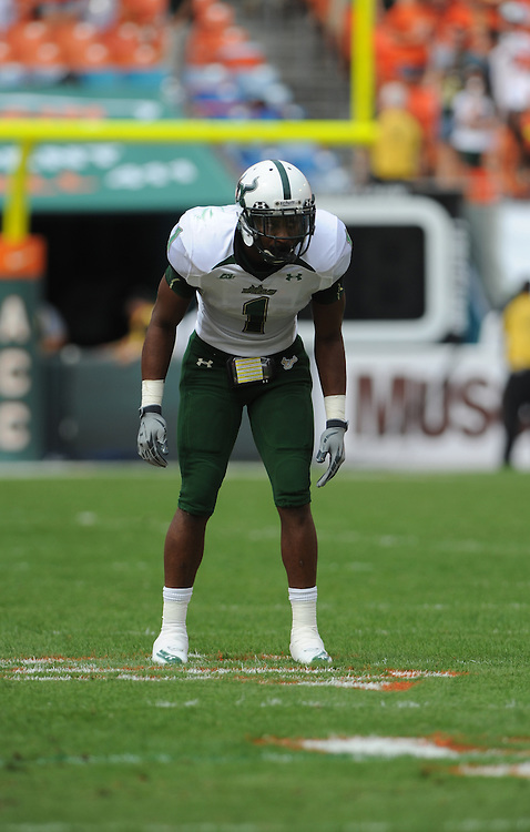 MIAMI GARDENS, FL - NOVEMBER 27: Jerrell Young #1 of the South Florida Bulls in action during the game against the Miami Hurricanes at Sun Life Stadium in Miami Gardens, Florida on November 27, 2010. South Florida defeated the Hurricanes 23-20.