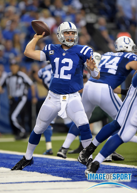 Sep 21, 2015; Indianapolis, IN, USA; Indianapolis Colts quarterback Andrew Luck (12) throws a pass during an NFL football game against the New York Jets at Lucas Oil Stadium.