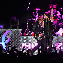 28 February, 2009: Austin Winkler (R) and Joe Garvery (L) of Hinder performs on stage during the Motley Crue Saints of Los Angeles Tour that made a stop at the New Orleans Arena in New Orleans, Louisiana.