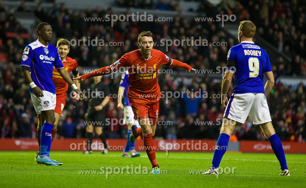 05.01.2014, Anfield, Liverpool, ENG, FA Cup, FC Liverpool vs FC Oldham Athletic, 3. Runde, im Bild Liverpool's Iago Aspas celebrates scoring the first goal against Oldham Athletic // during the English FA Cup 3rd round match between Liverpool FC and Oldham Athletic FC at the Anfield in Liverpool, Great Britain on 2014/01/05. EXPA Pictures &copy; 2014, PhotoCredit: EXPA/ Propagandaphoto/ David Rawcliffe<br /> <br /> *****ATTENTION - OUT of ENG, GBR*****