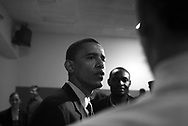 Illinois' democratic nominee for the U.S. Senate Barack Obama talks to the media after a unity breakfast for democrats at the IBEW Local 134 in Chicago.