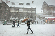 People walking through the snowfall at Shimla, Himachal Pradesh, India