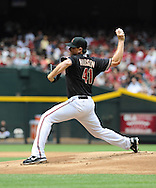 Apr. 7, 2012; Phoenix, AZ, USA; Arizona Diamondbacks pitcher Daniel Hudson (41) pitches against the San Francisco Giants during the first inning at Chase Field.  Mandatory Credit: Jennifer Stewart-US PRESSWIRE