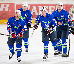 13.02.2016, Olympiaworld, Innsbruck, AUT, Euro Ice Hockey Challenge, Slowakei vs Slowenien, im Bild Andrej Hebar (SLO), Ziga Pesut (SLO), Robert Sabolic (SLO) and Sabahudin Kovacevic (SLO) // Andrej Hebar of Slowenia Ziga Pesut of Slowenia qe55 and Sabahudin Kovacevic of Slowenia during the Euro Icehockey Challenge Match between Slovakia and Slovenia at the Olympiaworld in Innsbruck, Austria on 2016/02/13. EXPA Pictures © 2016, PhotoCredit: EXPA/ Jakob Gruber