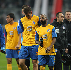 30.11.2013, Allianz Arena, Muenchen, GER, 1. FBL, FC Bayern München vs Eintracht Braunschweig, 14. Runde, im Bild l-r: Torsten OEHRL #20 (Eintracht Braunschweig), Domi KUMBELA #12 (Eintracht Braunschweig) verabschieden sich von den Fans // during the German Bundesliga 14th round match between FC Bayern München vs Eintracht Braunschweig at the Allianz Arena in Muenchen, Germany on 2013/11/30. EXPA Pictures © 2013, PhotoCredit: EXPA/ Eibner-Pressefoto/ Kolbert<br /> <br /> *****ATTENTION - OUT of GER*****