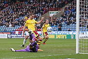 Burnley forward Sam Vokes (9) scores a goal  to make the score  0-2 during the Sky Bet Championship match between Huddersfield Town and Burnley at the John Smiths Stadium, Huddersfield, England on 12 March 2016. Photo by Simon Davies.