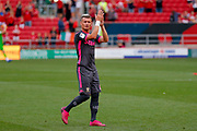 Leeds United defender Ezgjan Alioski (10) applauds the fans after the victory in the EFL Sky Bet Championship match between Bristol City and Leeds United at Ashton Gate, Bristol, England on 4 August 2019.