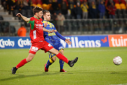 November 28, 2017 - Oostende, BELGIUM - Oostende's Aleksandar Bjelica and STVV's Stelios Kitsiou fight for the ball during a Croky Cup 1/8 final game between KV Oostende and STVV, in Oostende, Tuesday 28 November 2017. BELGA PHOTO KURT DESPLENTER (Credit Image: © Kurt Desplenter/Belga via ZUMA Press)