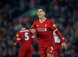 LIVERPOOL, ENGLAND - Boxing Day, Tuesday, December 26, 2017: Liverpool's Roberto Firmino celebrates scoring the fourth goal during the FA Premier League match between Liverpool and Swansea City at Anfield. (Pic by David Rawcliffe/Propaganda)