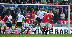 BOLTON, ENGLAND - Sunday, September 26, 2010: Bolton Wanderers' Zat Knight scores the opening goal against Manchester United during the Premiership match at the Reebok Stadium. (Photo by David Rawcliffe/Propaganda)