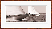 Sepia brown tone picture of 12 Meter Class Onawa and Northern Light racing at the Nantucket 12 Meter Regatta.