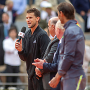 PARIS, FRANCE June 09.  Dominic Thiem of Austria makes a speech during presentations after his loss against Rafael Nadal of Spain on Court Philippe-Chatrier during the Men's Singles Final at the 2019 French Open Tennis Tournament at Roland Garros on June 9th 2019 in Paris, France. (Photo by Tim Clayton/Corbis via Getty Images)