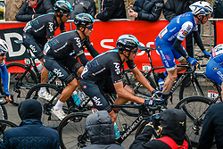 Peloton with MOSCON Gianni of Team Sky during 2nd lap on local circuit, UCI Men WorldTour 81st La Flèche Wallonne at Huy Belgium, 19 April 2017. Photo by Pim Nijland / PelotonPhotos.com | All photos usage must carry mandatory copyright credit (Peloton Photos | Pim Nijland)