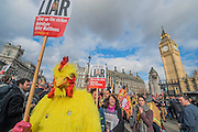 The 'cock' referes to Penny Mordaunt's spoof speech in the House of Commons. Led by Matt Wrack, The Fire Brigades Union holds a protest rally and march.  Stating at Methodist Central Hall and then heading for Parliament. They are demanding a farer pension settlement and a rethink of the increased retirement age. They accuse Penny Mordaunt, the minister responsible, of lieing to them about the changes and their impact. Westminster London, UK 25 Feb 2015.