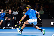 SYDNEY, NSW - JANUARY 07: Rafael Nadal (ESP) hits a drop shot at The Sydney FAST4 Tennis Showdown on January 07, 2018, at Qudos Bank Arena in Homebush, Australia. (Photo by Speed Media/Icon Sportswire)