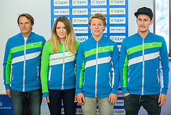 Nova sola: Roman Vidovic, Anja Krivec, Maj Stirn and Matic Lovko during official presentation of the outfits of the Slovenian Ski Teams before new season 2015/16, on October 6, 2015 in Kulinarika Jezersek, Sora, Slovenia. Photo by Vid Ponikvar / Sportida