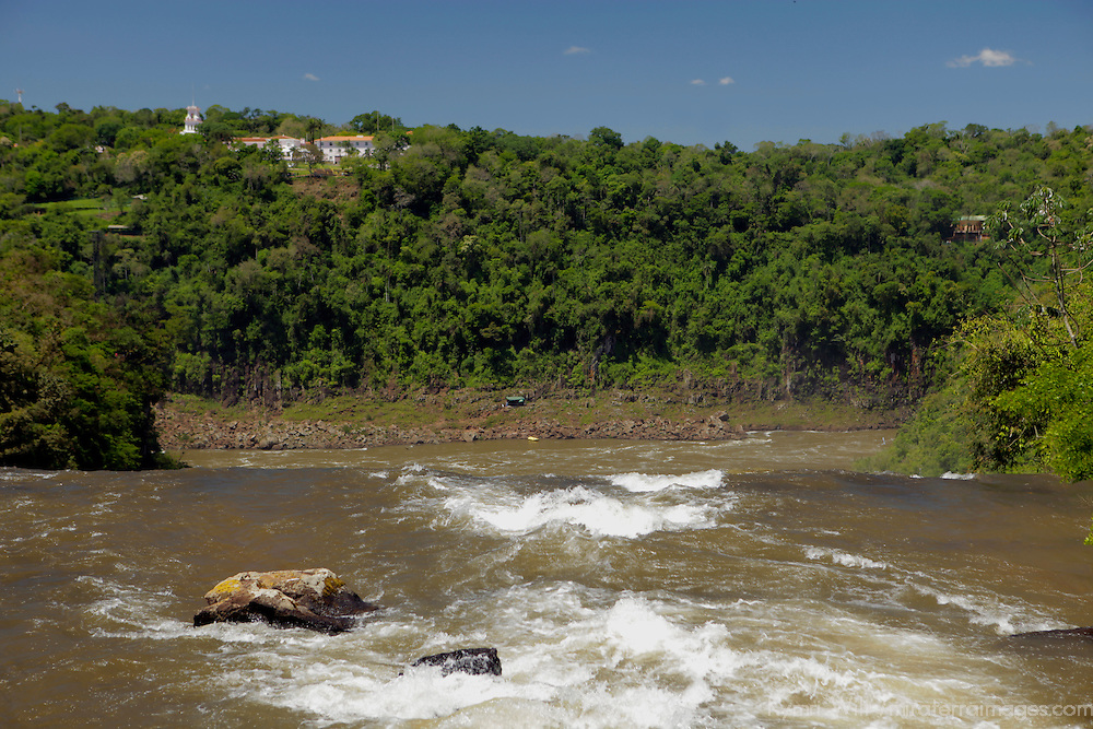 South America, Argentina, Iguacu Falls. View of Hotel Das Cataratas over Falls.