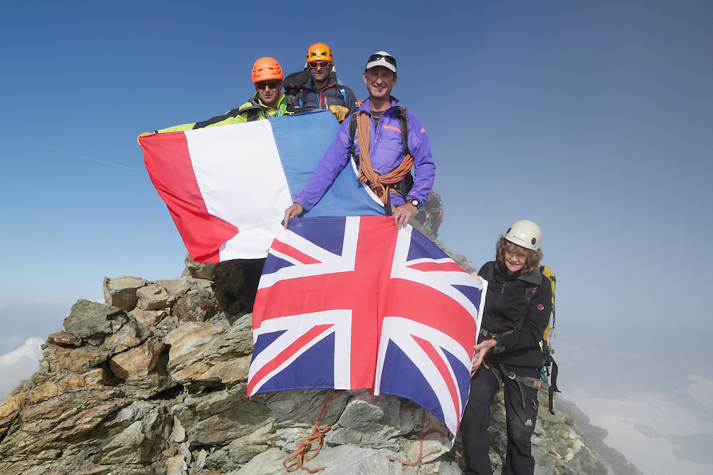 British and French alpinists on the summit of Matterhorn.<br />