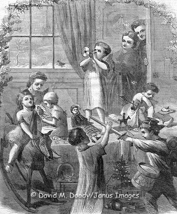 Christmas Morning, kids playing with their presents. Harper's Weekly, December 1864