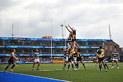 Tom Wood (Northampton) and Stuart Hooper (Bath) compete for the ball at a lineout - Photo mandatory by-line: Patrick Khachfe/JMP - Tel: Mobile: 07966 386802 23/05/2014 - SPORT - RUGBY UNION - Cardiff Arms Park, Cardiff - Bath Rugby v Northampton Saints - Amlin Challenge Cup Final.