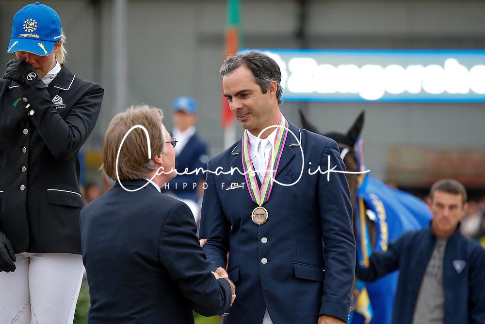 Pessoa Rodrigo (BRA) congratulated by Frank Kemperman<br /> FEI World Breeding Jumping Championship - Lanaken 2013<br /> &copy; Dirk Caremans