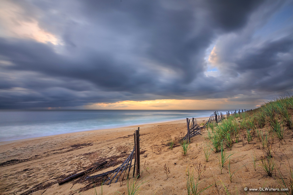 A dramatic sunrise at Kitty Hawk Beach on the Outer Banks.