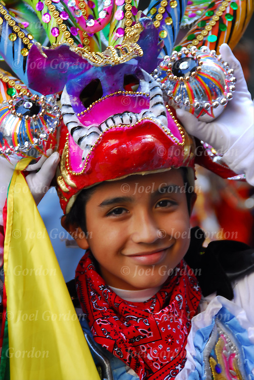 Hispanic Day Parade Bolivian Americans Ethnic Pride young boy dressed in folklore regalia