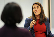 CAPTION CORRECTION: CORRECTS SPELLING TO ANDERSEN: Kristen Brown (right) speaks about the Amy Andersen (left), the Teacher of the Year winner Wednesday, October 04, 2017 at the New Jersey Department of Education in Trenton, New Jersey. (WILLIAM THOMAS CAIN / For The Philadelphia Inquirer)