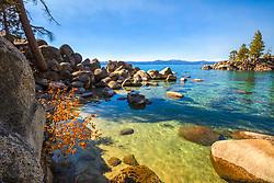 """Secret Cove in Autumn 8"" - Photograph of fall foliage along the shore of Secret Cove, Lake Tahoe."