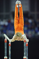 Epke ZONDERLAND (NED), competes in the parallel bars, The London Prepares Visa International Gymnastics