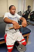 University of Arizona student Rion Prioleau works out at the campus Disability Resource Center.  Prioleau is on the university's wheelchair basketball team in Tucson, Arizona, USA.