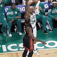 03 June 2012: Boston Celtics small forward Paul Pierce (34) takes a jumpshot over Miami Heat center Joel Anthony (50) during the first quarter of Game 4 of the Eastern Conference Finals playoff series, Heat at Celtics, at the TD Banknorth Garden, Boston, Massachusetts, USA.
