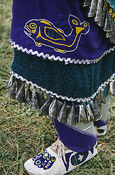 North America, USA, Montana, Arlee. Native American jingle dancer outfit close-up at annual Arlee powwow