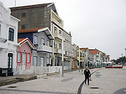Traditional striped houses in Costa, Nova, Portugal