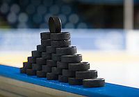 KELOWNA, CANADA - DECEMBER 17: Pucks stand on the boards before warm up between the Kelowna Rockets and the Kamloops Blazers on December 27, 2014 at Prospera Place in Kelowna, British Columbia, Canada.  (Photo by Marissa Baecker/Shoot the Breeze)  *** Local Caption ***