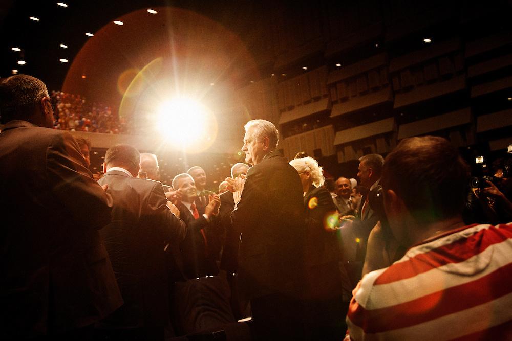 Tomislav Nikolic, center, during a standing ovation. Serbian Progressive Party (SNS) congress at Sava Center in Belgrade, Serbia. May 15, 2012...Matt Lutton for The Wall Street Journal.BELGRADE
