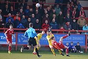 Accrington Stanley midfielder Sean McConville (11) attempts an overhead kick during the EFL Sky Bet League 1 match between Accrington Stanley and Fleetwood Town at the Fraser Eagle Stadium, Accrington, England on 30 March 2019.