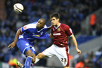 Photo: Pete Lorence/Sportsbeat Images.<br />Leicester City v Burnley. Coca Cola Championship. 10/11/2007.<br />Carl Cort and Stephen Jordan battle for the ball.