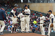 Scott Diamond #58 of the Minnesota Twins is taken out of the game by manager Ron Gardenhire #35 during a game against the New York Mets on April 13, 2013 at Target Field in Minneapolis, Minnesota.  The Mets defeated the Twins 4 to 2.  Photo: Ben Krause