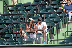 March 21, 2018 - Key Biscayne, Florida, United States Of America - KEY BISCAYNE, FL - MARCH 21: Naomi Osaka of Japan defeats Serena Williams of the United States during the Miami Open Presented by Itau at Crandon Park Tennis Center on March 21, 2018 in Key Biscayne, Florida. ...People:  Lisa Leslie,  Michael Lockwood, Michael Joseph Lockwood II, Lauren Jolie Lockwood. (Credit Image: © SMG via ZUMA Wire)