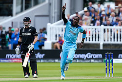 Jofra Archer of England  celebrates thinking he has taken the wicket of Martin Guptill of New Zealand but it is given not out - Mandatory by-line: Robbie Stephenson/JMP - 14/07/2019 - CRICKET - Lords - London, England - England v New Zealand - ICC Cricket World Cup 2019 - Final