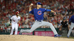 October 6, 2017 - Washington, DC, USA - Chicago Cubs starting pitcher Kyle Hendricks works in the first inning against the Washington Nationals in Game 1 of a National League Division Series on Friday, Oct. 6, 2017, at Nationals Park in Washington D.C. (Credit Image: © Brian Cassella/TNS via ZUMA Wire)
