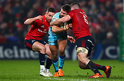 Santiago Cordero of Exeter Chiefs is tackled by Peter O'Mahony of Munster Rugby - Mandatory by-line: Ken Sutton/JMP - 19/01/2019 - RUGBY - Thomond Park - Limerick,  - Munster Rugby v Exeter Chiefs -