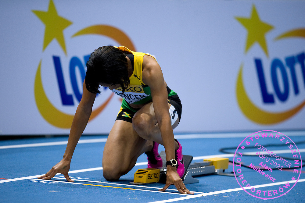 Kaliese Spencer of Jamaica competes in women's 400 meters qualification during the IAAF Athletics World Indoor Championships 2014 at Ergo Arena Hall in Sopot, Poland.<br /> <br /> Poland, Sopot, March 7, 2014.<br /> <br /> Picture also available in RAW (NEF) or TIFF format on special request.<br /> <br /> For editorial use only. Any commercial or promotional use requires permission.<br /> <br /> Mandatory credit:<br /> Photo by &copy; Adam Nurkiewicz / Mediasport