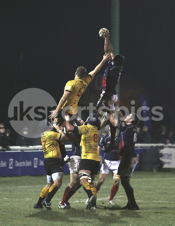 Chris Walker in action during the Green King IPA Championship match between London Scottish &amp; Cornish Pirates at Richmond, Greater London on 16th January 2015<br /> <br /> Photo: Ken Sparks | UK Sports Pics Ltd<br /> London Scottish v Cornish Pirates, Green King IPA Championship, 16h January 2015<br /> <br /> &copy; UK Sports Pics Ltd. FA Accredited. Football League Licence No:  FL14/15/P5700.Football Conference Licence No: PCONF 051/14 Tel +44(0)7968 045353. email ken@uksportspics.co.uk, 7 Leslie Park Road, East Croydon, Surrey CR0 6TN. Credit UK Sports Pics Ltd