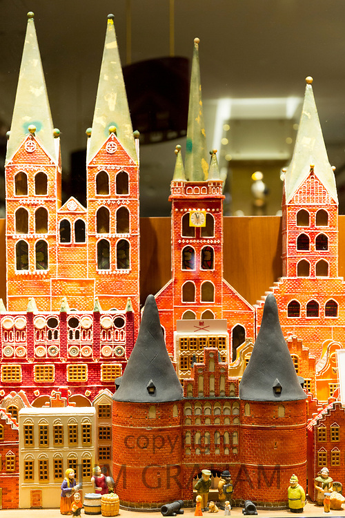 Houses and schloss castles of marzipan display at J.G. Niederegger candy shop in Lubeck - famous for marzipan, Germany