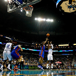 December 3, 2010; New Orleans, LA, USA; New Orleans Hornets point guard Chris Paul (3) shoots over New York Knicks power forward Amare Stoudemire (1) during the first half at the New Orleans Arena. Mandatory Credit: Derick E. Hingle